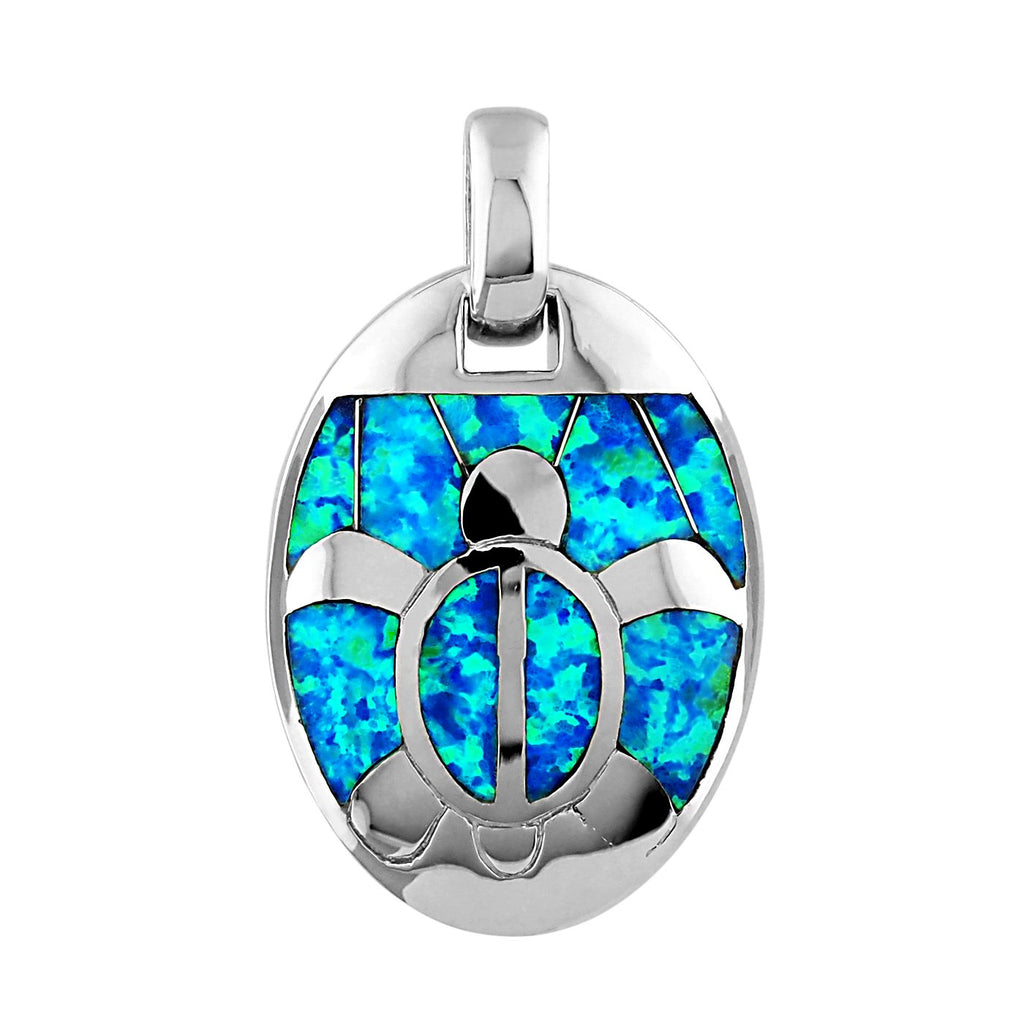 Sterling Silver Synthetic Blue Opal Turtle Oval Pendant