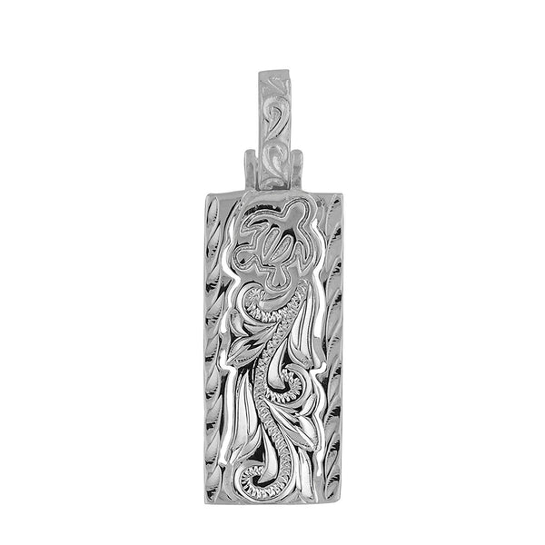 Sterling Silver Turtle and Scroll Vertical Bar Pendant