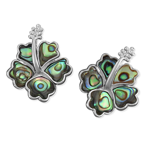 Sterling Silver Abalone Shell Hibiscus Earrings