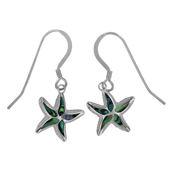 Sterling Silver Abalone Shell Starfish Dangle Earrings