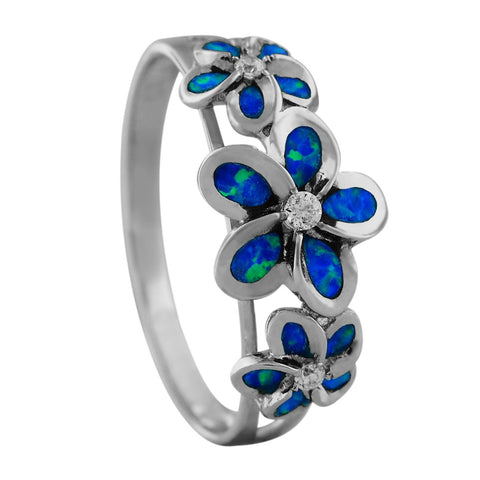 Sterling Silver Synthetic Opal Three Plumeria Ring