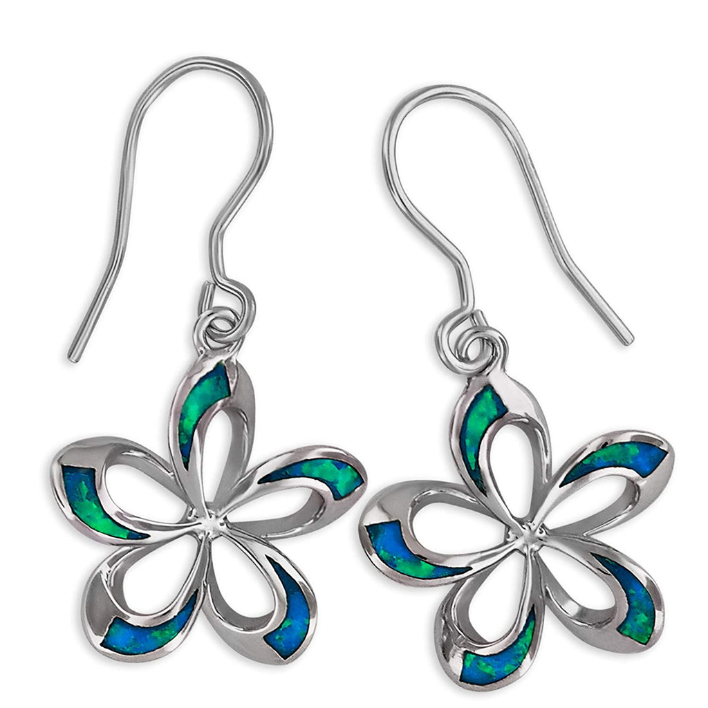 Sterling Silver Synthetic Blue Opal Open Plumeria Dangle Earrings