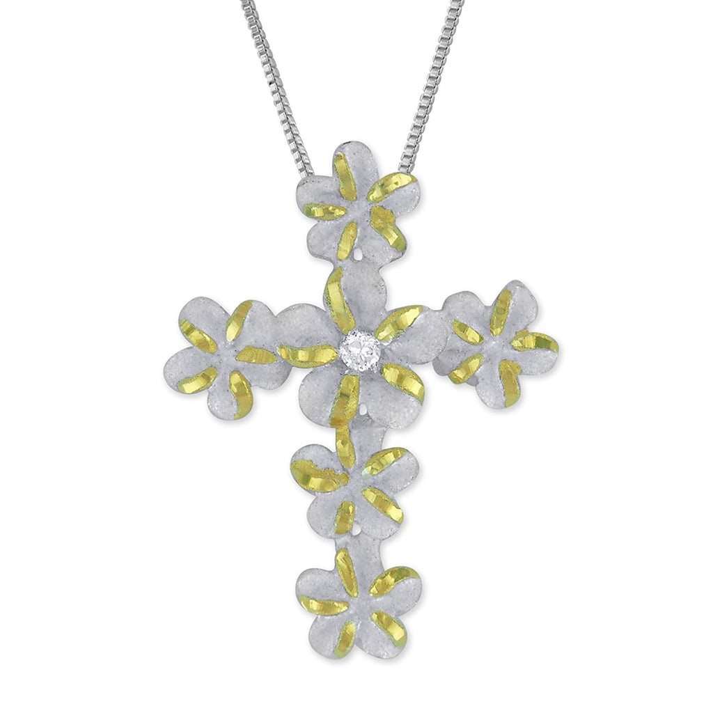 Sterling Silver with 14kt Yellow Gold Plated Accents Plumeria Cross Pendant Necklace, 16+2
