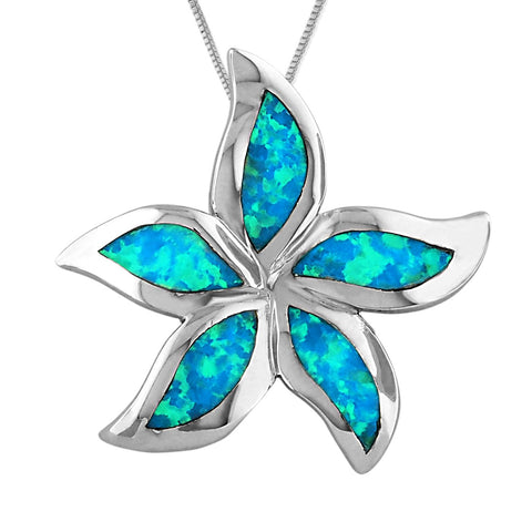Sterling Silver Synthetic Blue Opal 1 Inch Starfish/Plumeria Pendant Necklace, 16+2