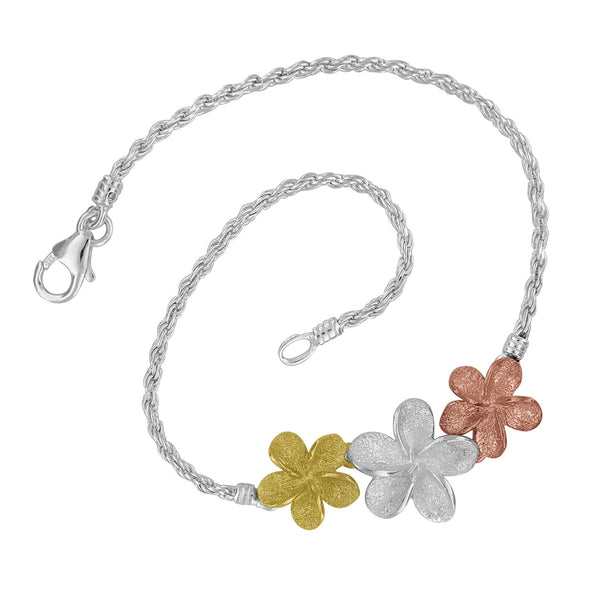 Sterling Silver with 14kt Yellow and Rose Gold Plated Three Plumeria Rope Bracelet