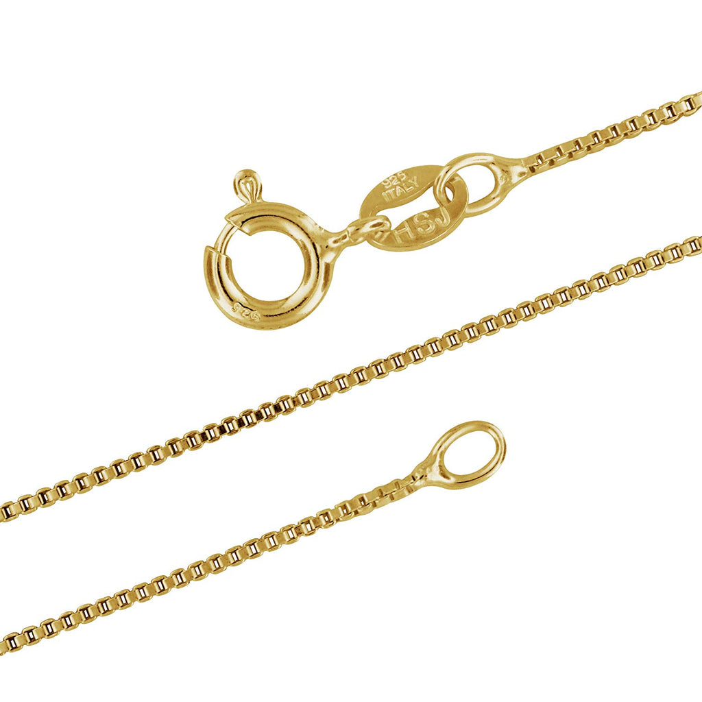14kt Yellow Gold Plated Sterling Silver 1mm Box Chain Necklace Nickel-Free, 14-36 Inches