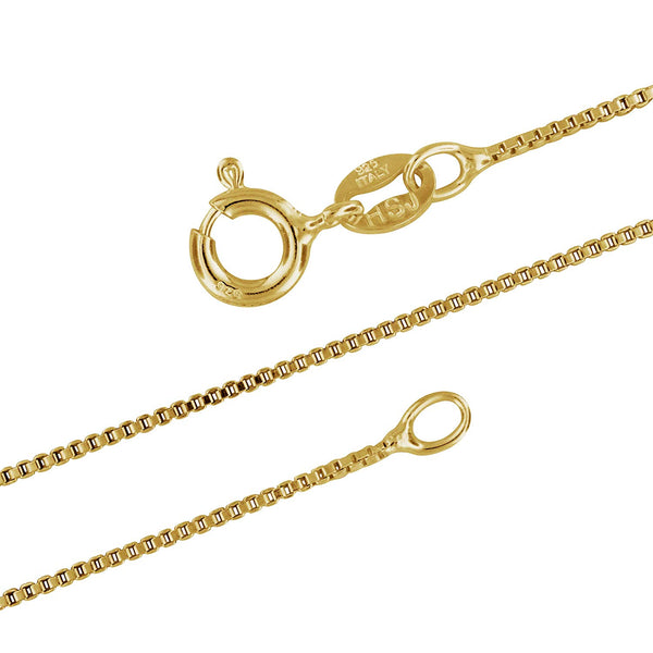 14kt Yellow Gold Plated Sterling Silver 1mm Box Chain Necklace Solid Italian Nickel-Free, 16