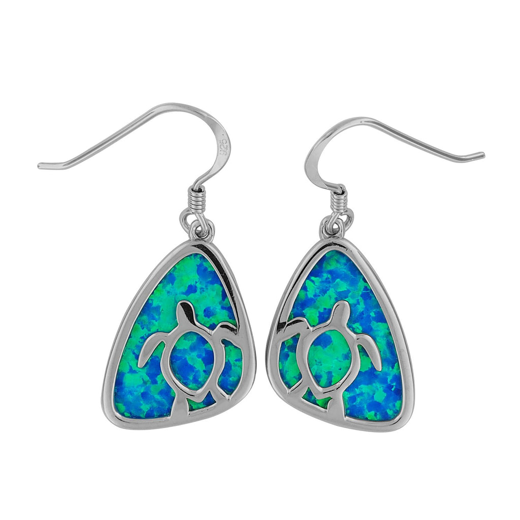 Sterling Silver Synthetic Blue Opal Triangle Turtle Dangle Earrings