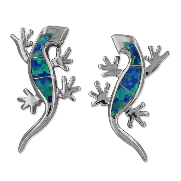 Sterling Silver Synthetic Blue Opal Lizard Stud Earrings