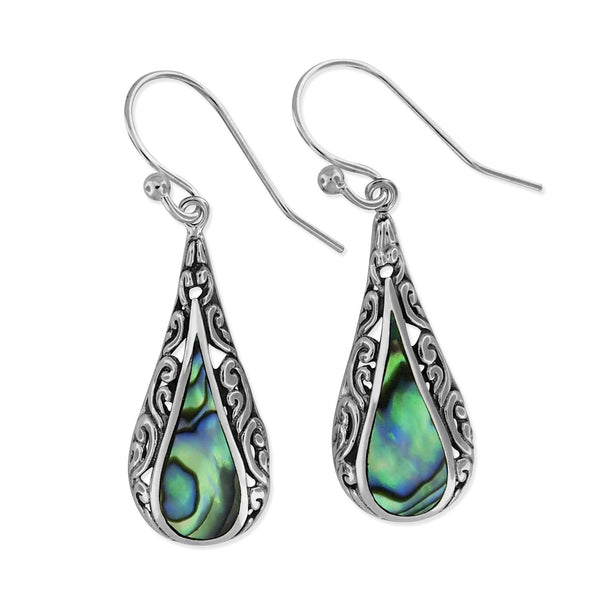 Sterling Silver Abalone Shell Teardrop Filigree Dangle Earrings