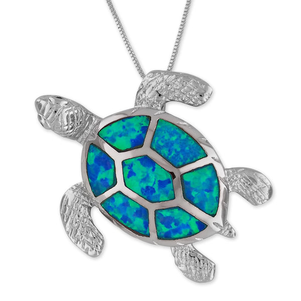 Sterling Silver Synthetic Blue Opal Turtle Pendant Necklace, 18