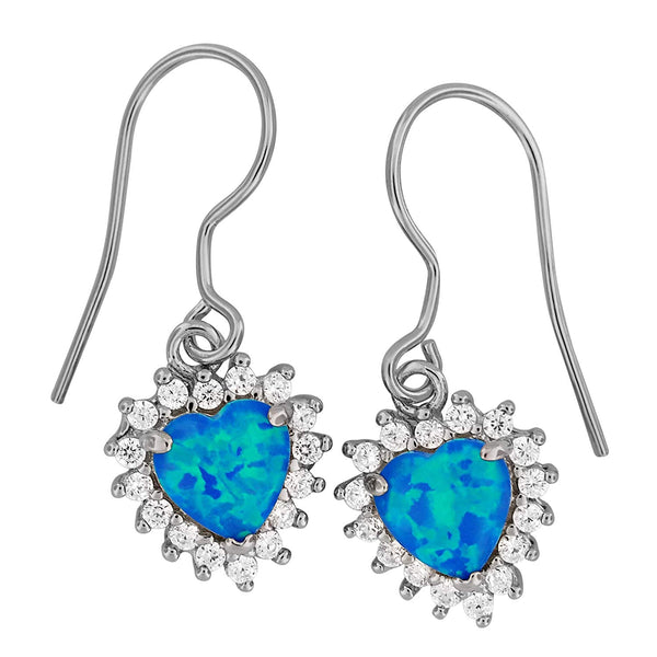 Sterling Silver Synthetic Blue Opal Heart Dangle Earrings