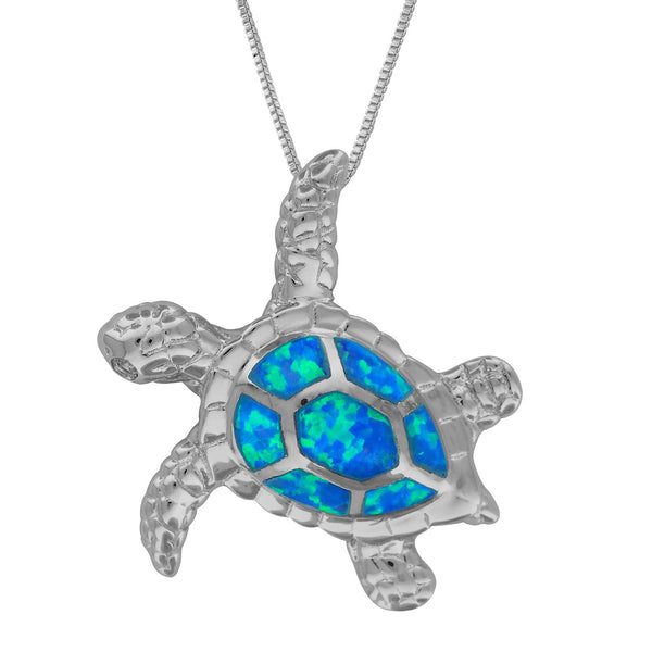 Sterling Silver Synthetic Blue Opal Sea Turtle Pendant Necklace, 16+2