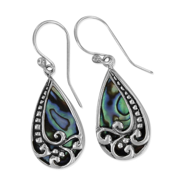 Sterling Silver Abalone Shell Bali Teardrop Dangle Earrings