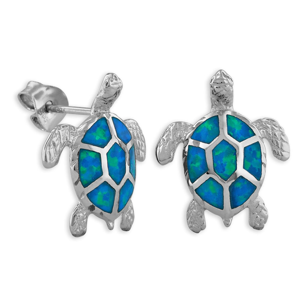 Sterling Silver Synthetic Blue Opal Turtle Stud Earrings