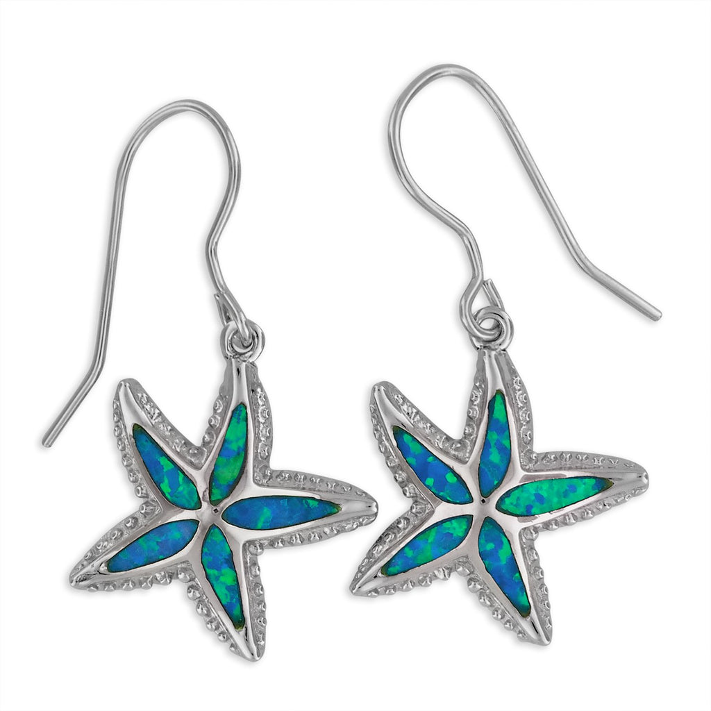 Sterling Silver Synthetic Blue Opal Starfish Dangle Earrings