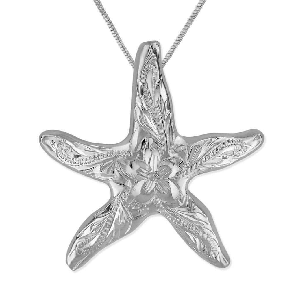 Sterling Silver 1 Inch Engraved Starfish Pendant Necklace, 16+2