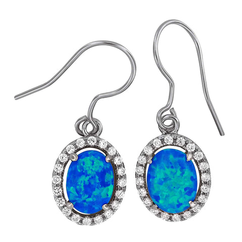Sterling Silver Synthetic Blue Opal Oval Dangle Earrings
