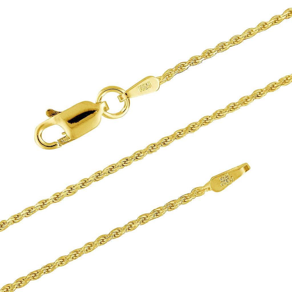 14kt Yellow Gold Plated Sterling Silver 1.1mm Diamond-Cut Rope Chain Necklace Nickel-Free,14-36Inch