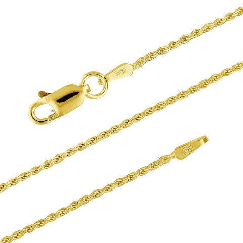 14kt Yellow Gold Plated Sterling Silver 1.1mm Diamond-Cut Rope Chain Necklace Solid Italian Nickel-Free, 14-36 Inch