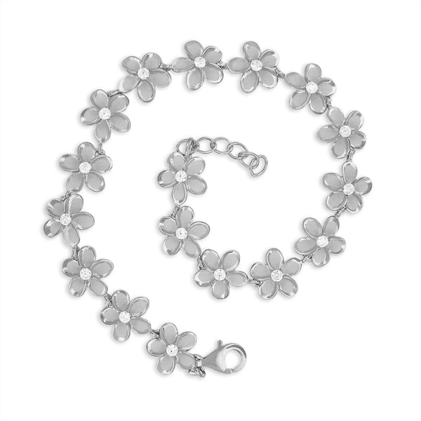 Rhodium Plated Sterling Silver Plumeria Link Bracelet, 7.5+0.5