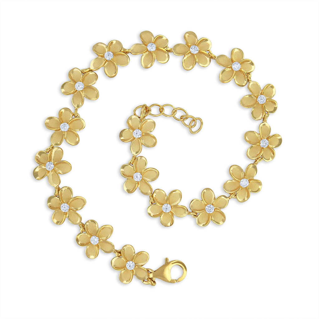 Yellow Gold Plated Sterling Silver Plumeria Link Bracelet, 7.5+0.5