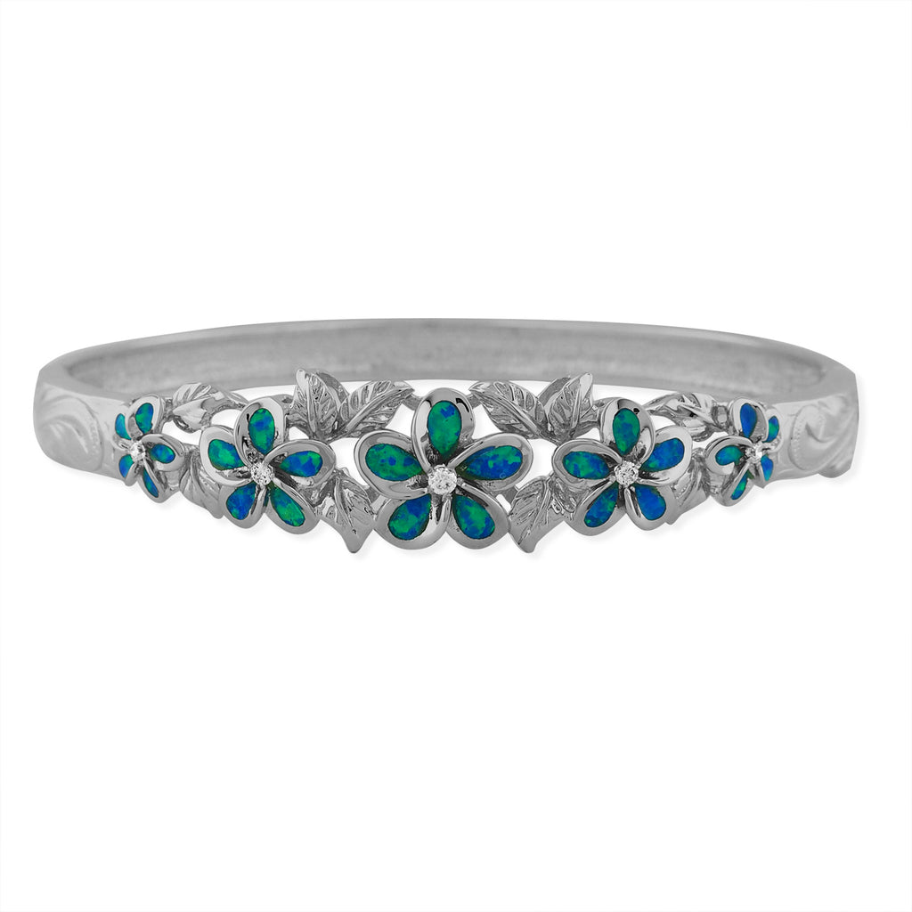 Sterling Silver Synthetic Blue Opal Five Plumeria Maile Bangle 7 Inch