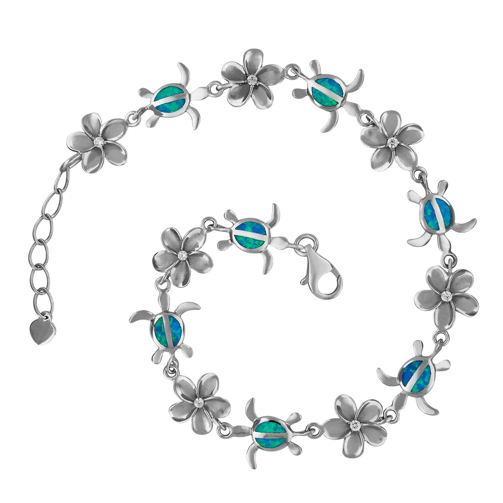 Sterling Silver Synthetic Blue Opal Turtle and Plumeria Bracelet, 7.5+0.75