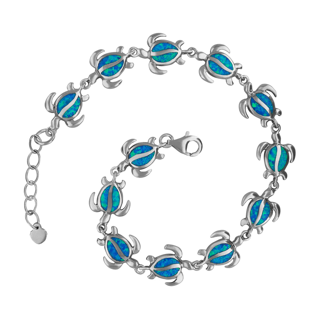 Sterling Silver Synthetic Blue Opal Turtle Bracelet, 7.25+0.75
