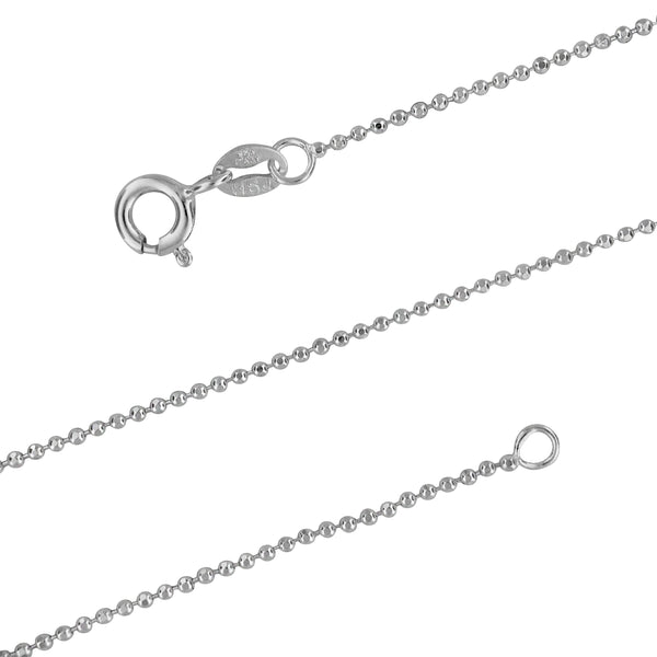 Sterling Silver 1.2mm Diamond-Cut Ball Chain Necklace, 15-20 Inch