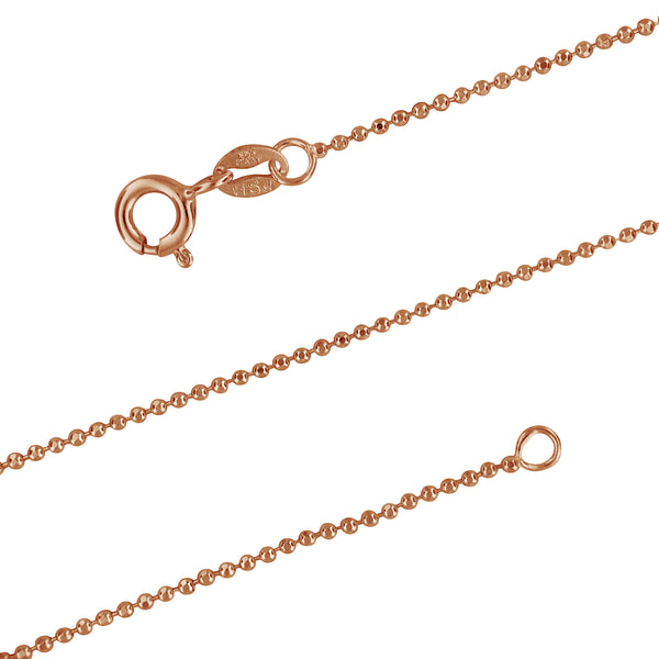 14kt Rose Gold Plated Sterling Silver 1.2mm Diamond-Cut Ball Chain Necklace, 15-20 Inch