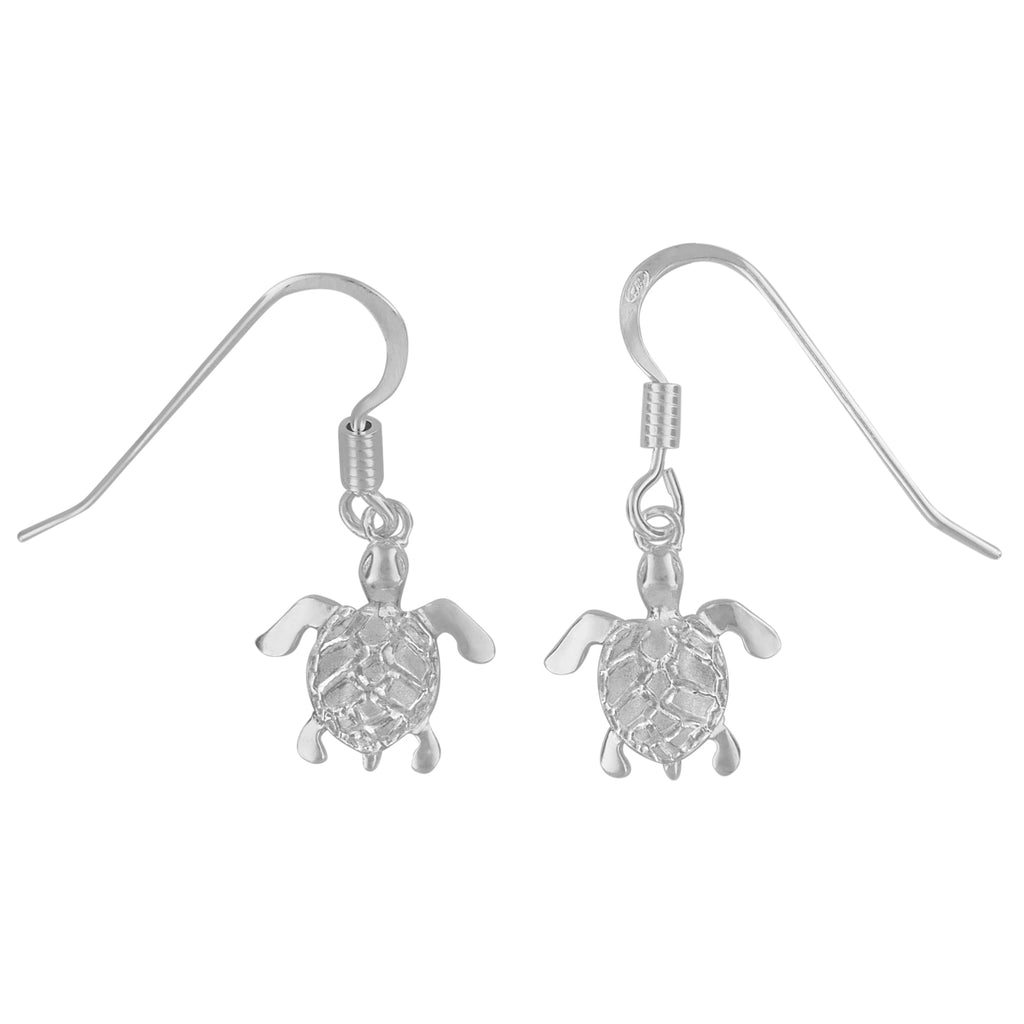 Sterling Silver 11mm Sea Turtle Dangle Earrings