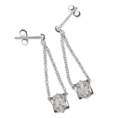 Sterling Silver Plumeria Bead Dangle Earrings