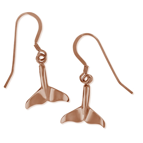 14kt Rose Gold Plated Sterling Silver Whale Tail Dangling Earrings