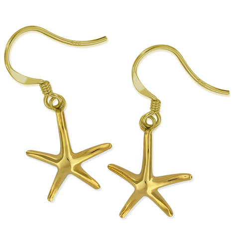 14kt Yellow Gold Plated Sterling Silver Starfish Dangle Earrings