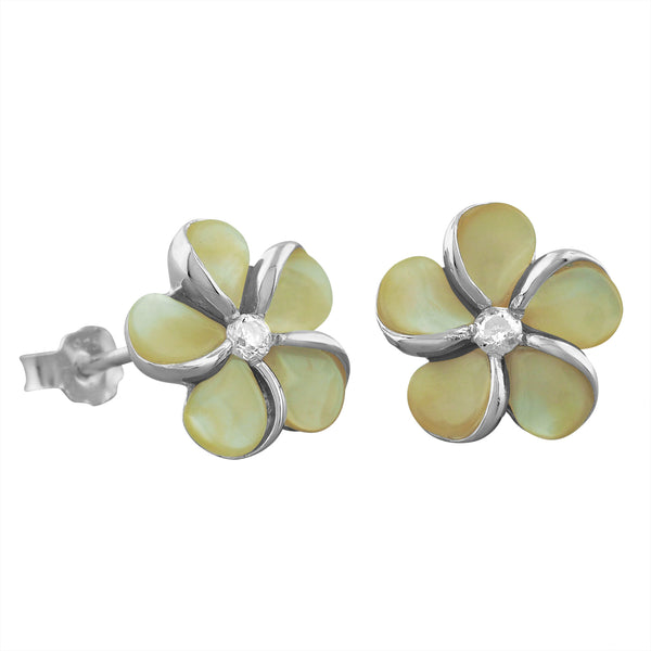 Sterling Silver Mother of Pearl Plumeria Earrings
