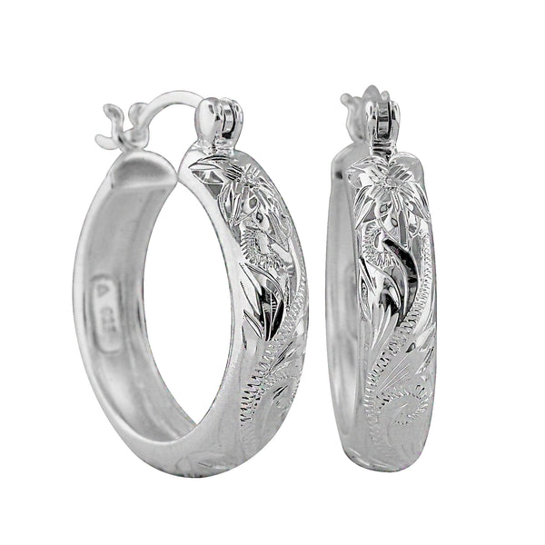 Sterling Silver 7/8 Inch Engraved Hoop Earrings