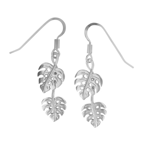 Sterling Silver Double Monstera Dangle Earrings