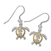 Sterling Silver Petroglyph Turtle Plumeria Dangle Earrings