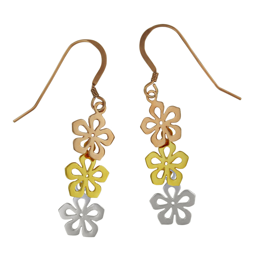 Sterling Silver with Yellow and Rose Gold Plated Three Plumeria Dangle Earrings
