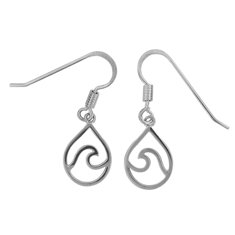 Sterling Silver Wave in Teardrop Dangle Earrings