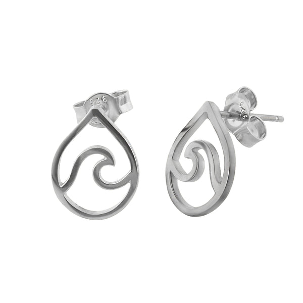Sterling Silver Wave in Teardrop Stud Earrings