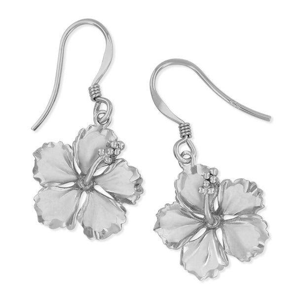 Sterling Silver 5/8 Inch Hibiscus Dangle Earrings
