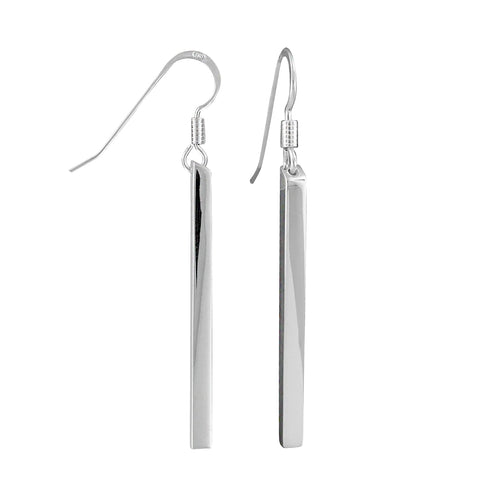 Sterling Silver Long Bar Dangle Earrings