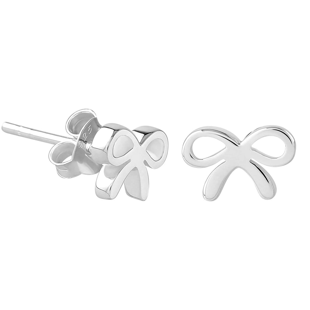 Sterling Silver XS Tiny Ribbon Stud Earrings