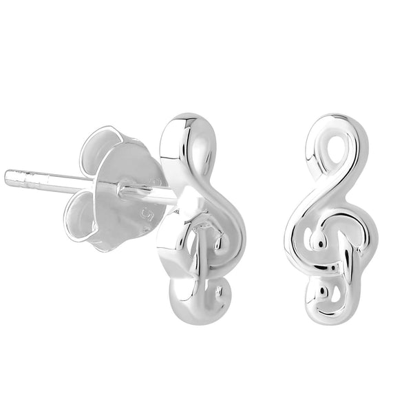 Sterling Silver XS Tiny Treble Clef Stud Earrings