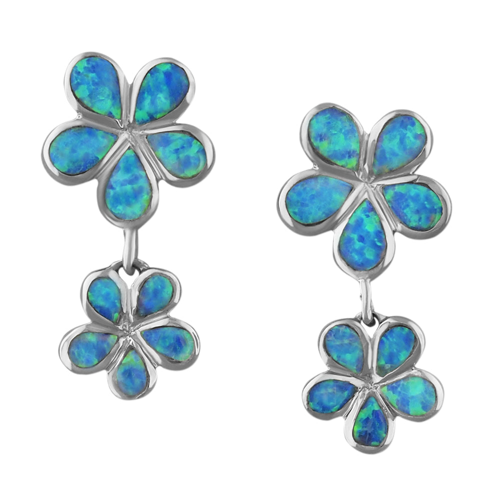Sterling Silver Synthetic Blue Opal Double Plumeria Dangle Earrings