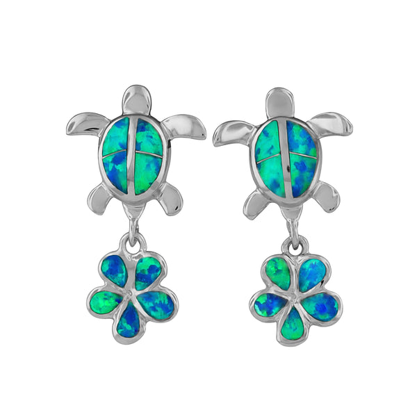 Sterling Silver Synthetic Blue Opal Turtle and Plumeria Dangle Earrings