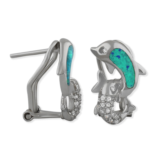 Sterling Silver Synthetic Blue Opal Dolphin Earrings