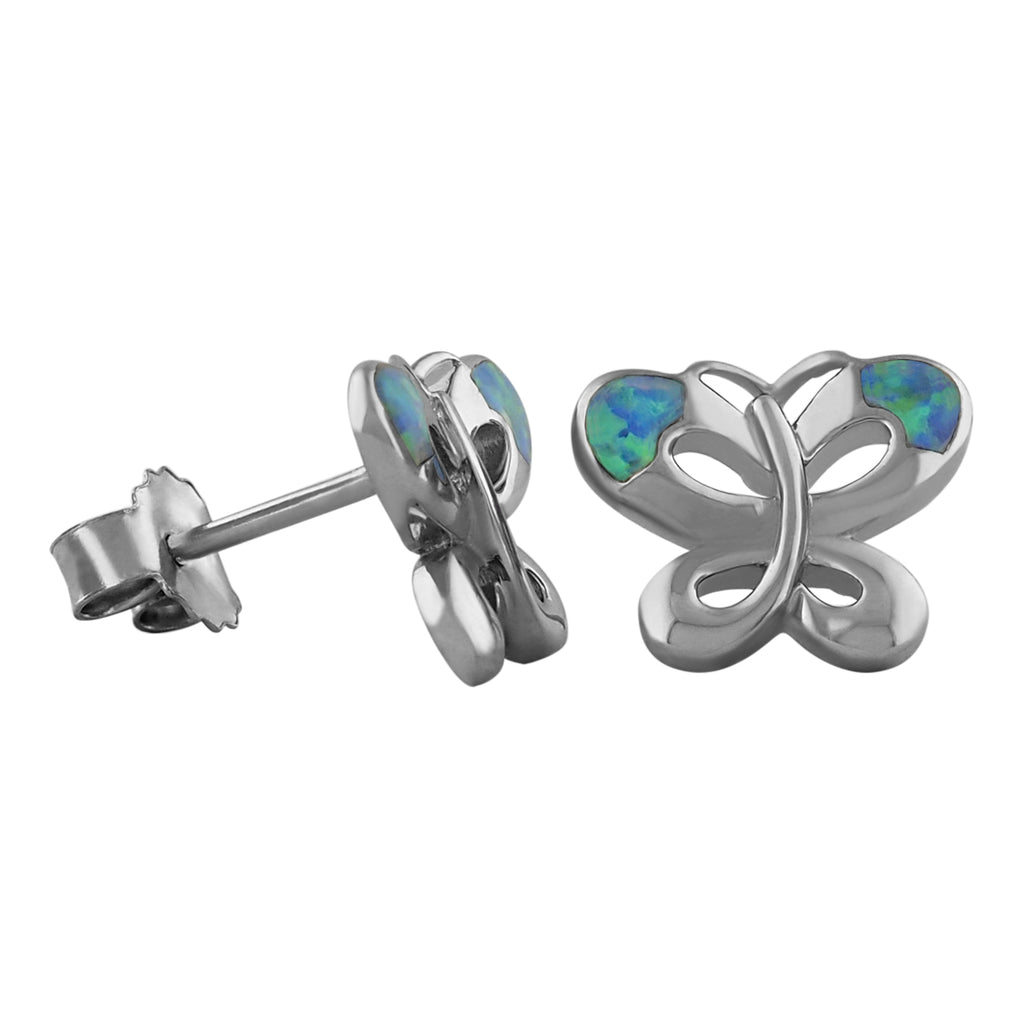 Sterling Silver Synthetic Blue Opal Butterfly Stud Earrings